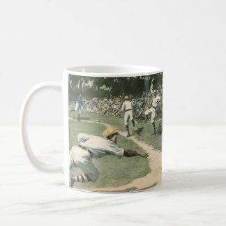 Vintage Sports, Baseball Player Sliding into Home Coffee Mug