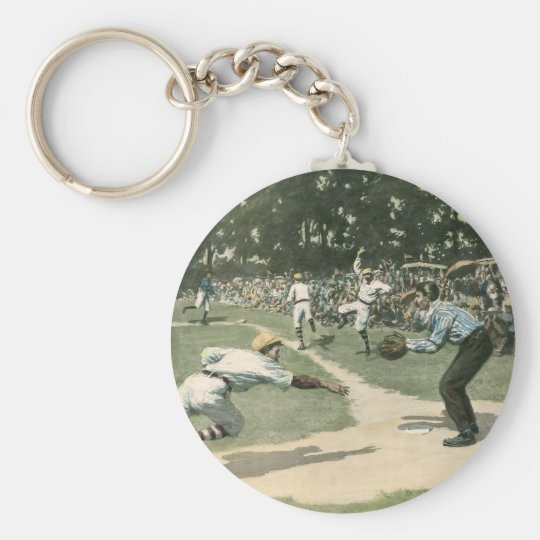 Vintage Sports, Baseball Player Sliding into Home Keychain