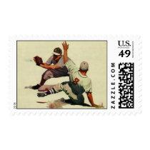 Vintage Sports Baseball, Player Sliding into Home Postage