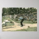 Vintage Sports, Baseball Player Sliding into Home Poster