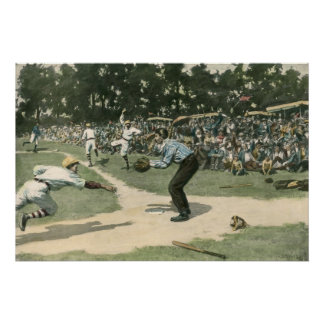 Vintage Sports, Baseball Player Sliding into Home Poster