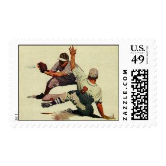Vintage Sports Baseball, Player Sliding into Home Stamp