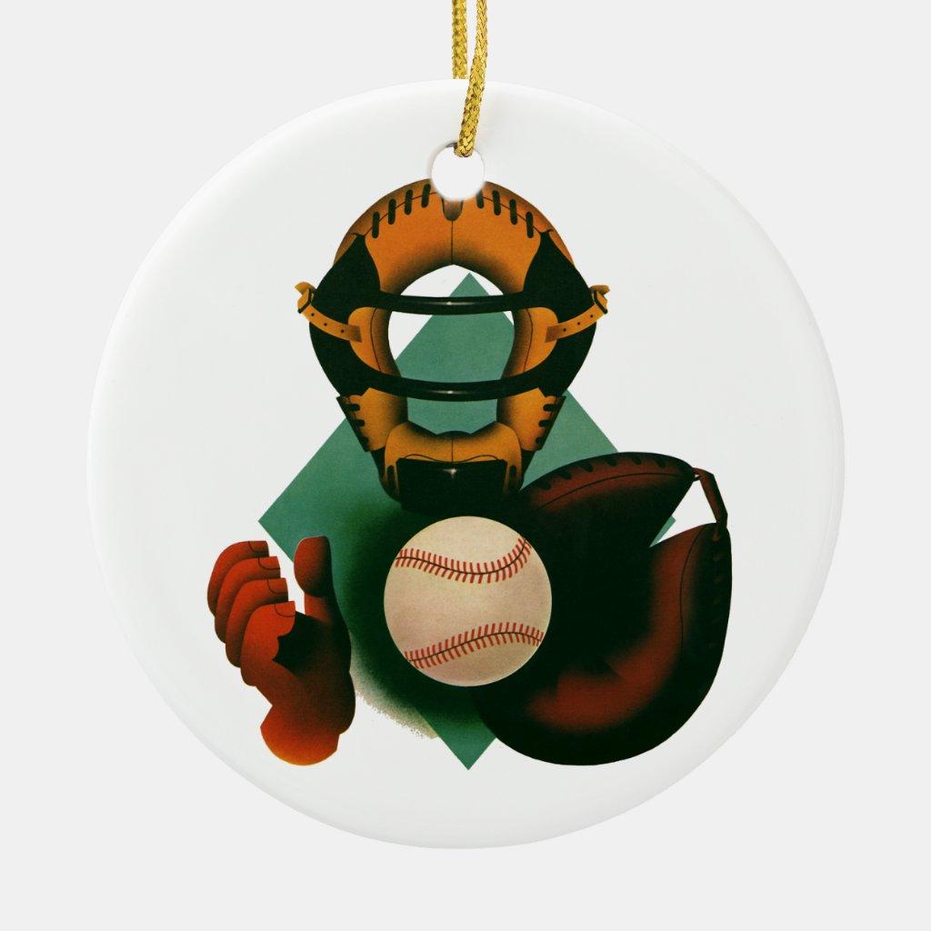 Vintage Sports, Baseball Player, the Catcher Christmas Ornament