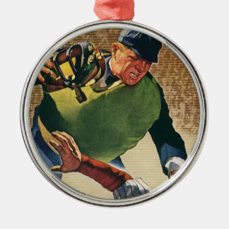 Vintage Sports Baseball Player, the Umpire Metal Ornament