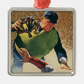 Vintage Sports Baseball Player, the Umpire Metal Ornament