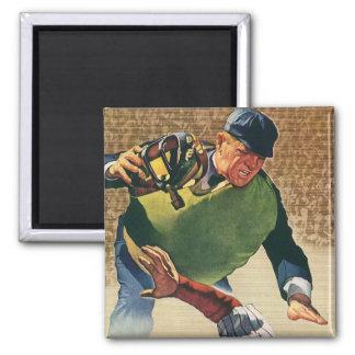 Vintage Sports Baseball Player, Umpire Refrigerator Magnet