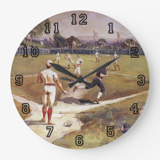 Vintage Sports Baseball Players by Henry Sandham Large Clock