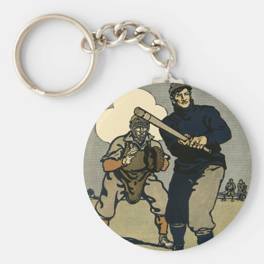 Vintage Sports, Baseball Players in a Game Keychain