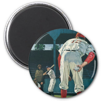 Vintage Sports Baseball Players Pitcher on Mound 2 Inch Round Magnet