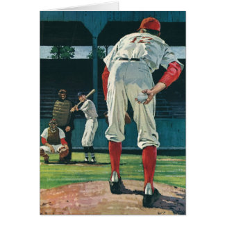 Vintage Sports Baseball Players Pitcher on Mound Greeting Card