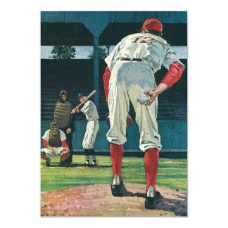 Vintage Sports Baseball Players Pitcher on Mound 5x7 Paper Invitation Card