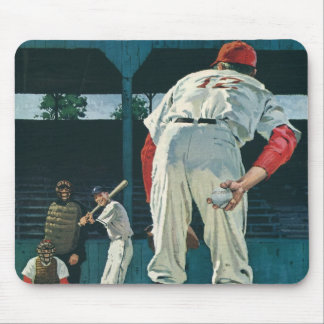 Vintage Sports Baseball Players Pitcher on Mound Mouse Pad