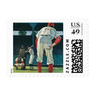 Vintage Sports Baseball Players Pitcher on Mound Postage Stamp