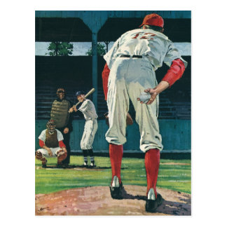 Vintage Sports Baseball Players Pitcher on Mound Postcard