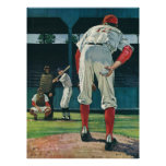 Vintage Sports Baseball Players Pitcher on Mound Poster