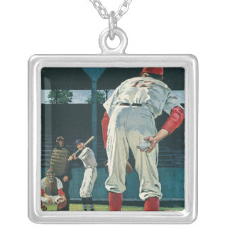 Vintage Sports Baseball Players Pitcher on Mound Silver Plated Necklace