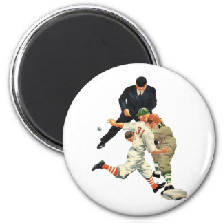 Vintage Sports Baseball Players Safe at Home Plate 2 Inch Round Magnet
