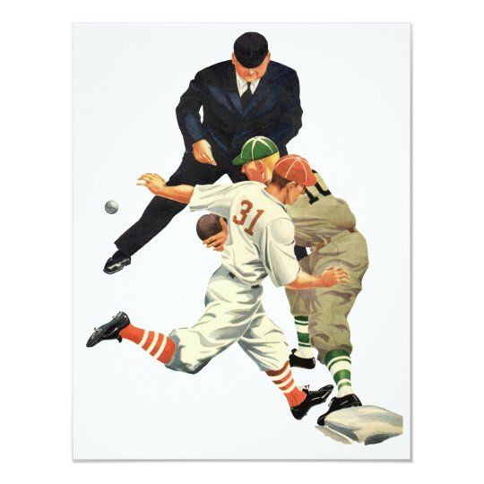 Vintage Sports Baseball Players Safe at Home Plate Card