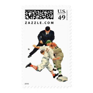 Vintage Sports Baseball Players Safe at Home Plate Postage
