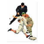 Vintage Sports Baseball Players Safe at Home Plate Post Cards