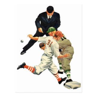 Vintage Sports Baseball Players Safe at Home Plate Postcard