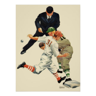 Vintage Sports Baseball Players Safe at Home Plate Poster