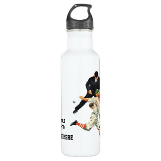 Vintage Sports Baseball Players Safe at Home Plate Water Bottle