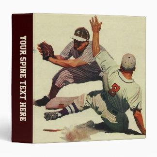 Vintage Sports Baseball Players Sliding into Home 3 Ring Binder