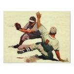 Vintage Sports Baseball Players Sliding into Home Invitations