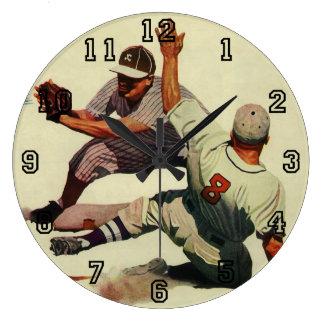 Vintage Sports Baseball Players Sliding into Home Large Clock