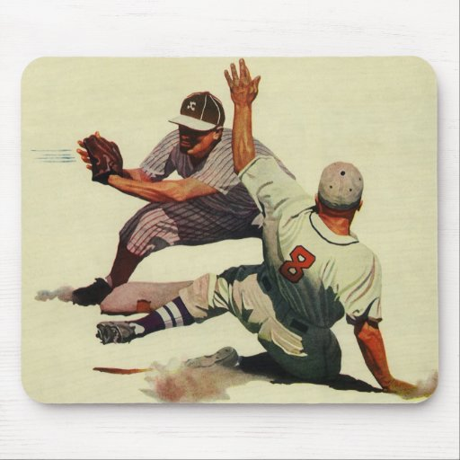 Vintage Sports Baseball Players Sliding into Home Mouse Pads