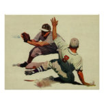 Vintage Sports Baseball Players Sliding into Home Posters