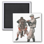 Vintage Sports Baseball Players with Umpire 2 Inch Square Magnet