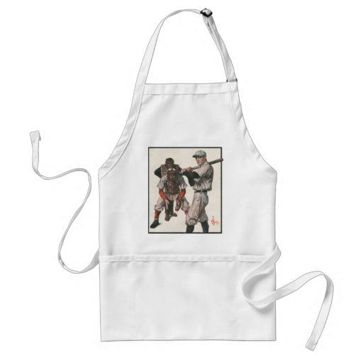 Vintage Sports Baseball Players with Umpire Adult Apron