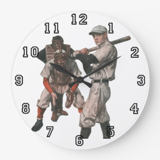 Vintage Sports Baseball Players with Umpire Large Clock