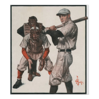 Vintage Sports Baseball Players with Umpire Poster