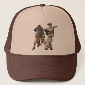 Vintage Sports Baseball Players with Umpire Trucker Hat