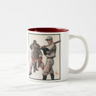 Vintage Sports Baseball Players with Umpire Two-Tone Coffee Mug