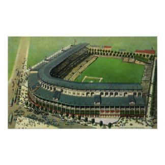 Vintage Sports Baseball Stadium, Aerial View Posters