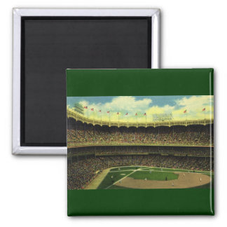 Vintage Sports, Baseball Stadium, Flags and Fans 2 Inch Square Magnet