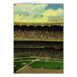 Vintage Sports, Baseball Stadium, Flags and Fans Greeting Card