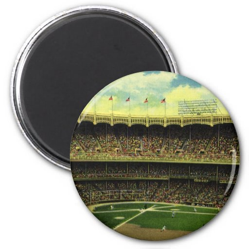 Vintage Sports, Baseball Stadium, Flags and Fans Magnets