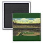 Vintage Sports, Baseball Stadium, Flags and Fans Fridge Magnets