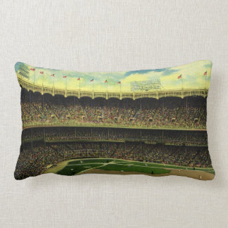 Vintage Sports, Baseball Stadium, Flags and Fans Throw Pillow