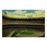 Vintage Sports, Baseball Stadium, Flags and Fans Poster