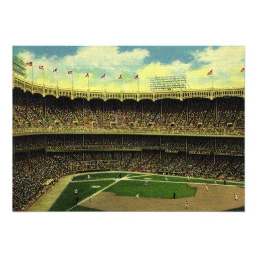 Vintage Sports, Baseball Stadium with Flags Custom Invitations