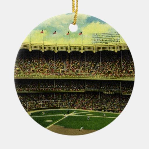 Vintage Sports, Baseball Stadium with Flags Christmas Ornaments