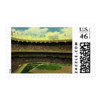 Vintage Sports, Baseball Stadium with Flags Stamps