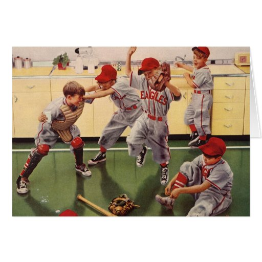 Vintage Sports Baseball Team, Boys in a Food Fight Greeting Card