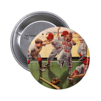 Vintage Sports Baseball Team, Boys in a Food Fight Pinback Button